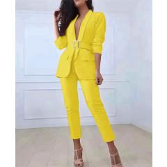 Γυναικείο σετ σακάκι και παντελόνι 3971 κίτρινο