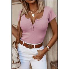 Γυναικείο κοντομάνικο μπλουζάκι 5586 ροζ