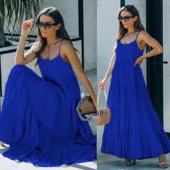 Γυναικείο μακρύ χαλαρό φόρεμα 8105 μπλε