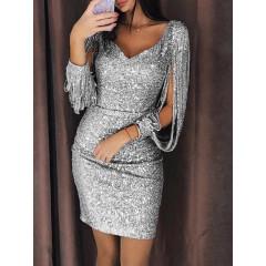 Γυναικείο φόρεμα με παγιέτες 01189 ασημί