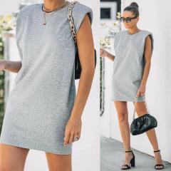Γυναικείο μπλουζοφόρεμα με βάτες 2984 γκρι