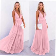 Γυναικείο μακρύ φόρεμα 2415 ροζ