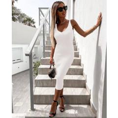 Γυναικείο φόρεμα με τιράντες αλυσίδες 4356 άσπρο