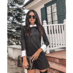 Γυναικείο μονόχρωμο φόρεμα με γιακά 3954 μαύρο
