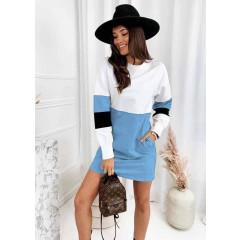 Γυναικείο μλουζοφόρεμα σε τρία χρώματα 3592 γαλάζιο