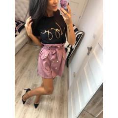 Γυναικεία σουέτ φούστα με ζώνη 3733 ροζ