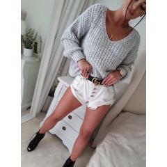 Γυναικείο πουλόβερ με βαθύ ντεκολτέ 00721 γκρι