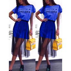 Γυναικείο μπλουζοφόρεμα με τούλι 5483 μπλε