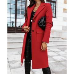 Γυναικείο κομψό παλτό 8680 κόκκινο