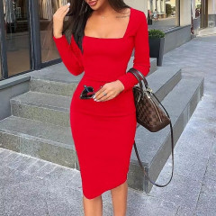 Φόρεμα με τετράγωνο ντεκολτέ 3450 κόκκινο
