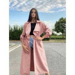 Γυναικείο μακρύ μπουφάν βελουτέ 5311 ροζ