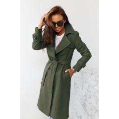 Εντυπωσιακό παλτό με φόδρα 5415 χακί