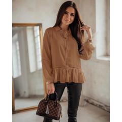 Γυναικείο εντυπωσιακό πουκάμισο 5486 καμηλό