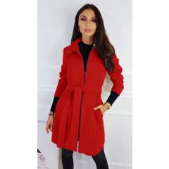 Γυναικείο παλτό με φερμουάρ και ζώνη 3829 κόκκινο