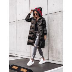 Γυναικείο μακρύ μπουφάν MF05 μαύρο/κόκκινο