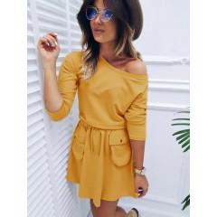 Γυναικείο φόρεμα με τσέπες 3743 κίτρινο