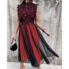 Γυναικείο φόρεμα με τούλι 3160 κόκκινο