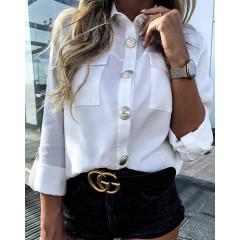Γυναικείο πουκάμισο με εντυπωσιακά κουμπιά 3741 άσπρο