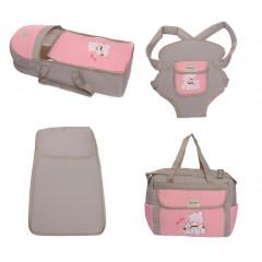 Σετ από 4 τμχ.- πορτ μπεμπέ, τσάντα, μάρσιπος και στρώμα 04106 ανοιχτό γκρι/ροζ