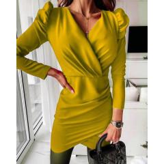Γυναικείο φόρεμα με φουσκωτό μανίκι 8043 κίτρινο