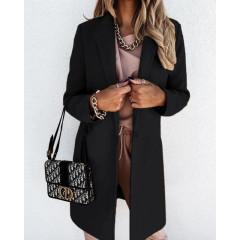 Γυναικείο κομψό παλτό με φόδρα 5332 μαύρο