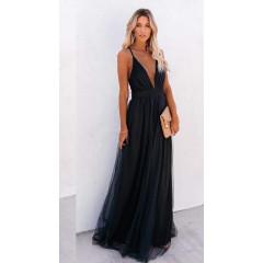 Γυναικείο μακρύ φόρεμα 2415 μαύρο