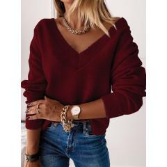 Γυναικεία μπλούζα με βαθύ ντεκολτέ 00690 μπορντό