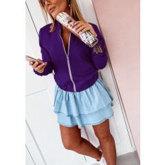Γυναικείο μπουφάν με λάστιχο 3088 μωβ