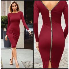 Γυναικείο φόρεμα με φερμουάρ 3824 μπορντό