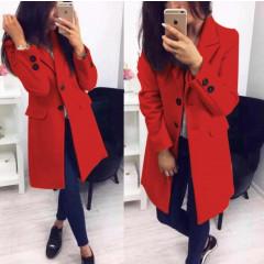 Γυναικείο στιλάτο παλτό 19688 κόκκινο
