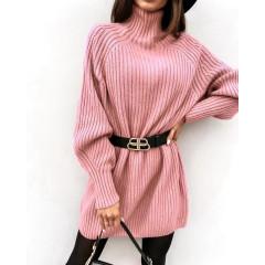 Γυναικείο πλεκτό μπλουζοφόρεμα 8167 ροζ