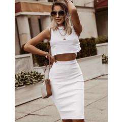 Γυναικεία ψηλόμεση φούστα 5195 άσπρη