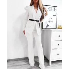 Γυναικείο σετ με σακάκι και παντελόνι 9808 άσπρο