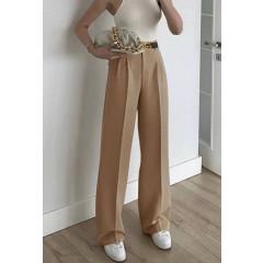 Γυναικείο φαρδύ παντελόνι με ζώνη 5508 καμηλό