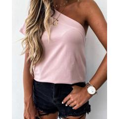Γυναικεία μπλούζα με ένα μανίκι 5093 ροζ