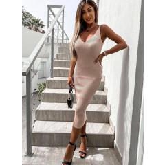 Γυναικείο φόρεμα με τιράντες αλυσίδες 4356 μπεζ
