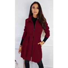 Γυναικείο παλτό με φερμουάρ και ζώνη 3829 μπορντό