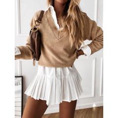 Γυναικεία μπλούζα με βαθύ ντεκολτέ 00690 καμηλό