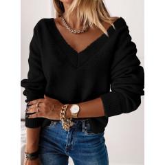 Γυναικεία μπλούζα με βαθύ ντεκολτέ 00690 μαύρο