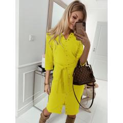 Γυναικείο φόρεμα με τρουξ και ζώνη 3978 κίτρινο