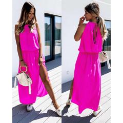 Μακρύ χαλαρό φόρεμα 5171 φούξια
