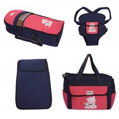Σετ από 4 τμχ.- πορτ μπεμπέ, τσάντα, μάρσιπος και στρώμα 04106 σκούρο μπλε/φούξια