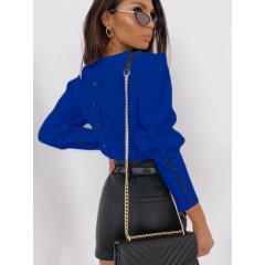 Γυναικεία μπλούζα με κουμπιά στην πλάτη και στο μανίκι 3820 μπλε