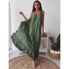 Γυναικείο μακρύ φόρεμα εξώπλατο 3672 λαδί
