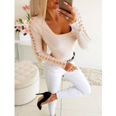 Γυναικεία μπλούζα με εντυπωσιακό μανίκι 34552 ροζ