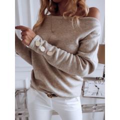 Γυναικεία μπλούζα με κουμπιά στο μανίκι 3735 μπεζ