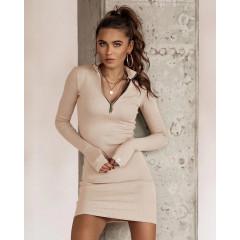 Γυναικείο εφαρμοστό φόρεμα με φερμουάρ 5506 μπεζ