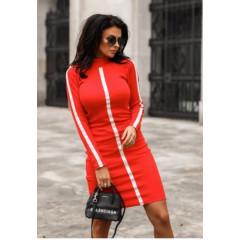 Γυναικείο φόρεμα με ρίγα 9649 κόκκινο