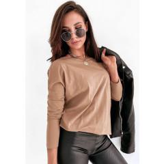 Γυναικεία απλή μπλούζα 14035 μπεζ