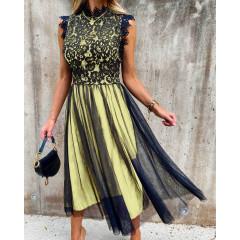 Γυναικείο φόρεμα με τούλι 3160 κίτρινο